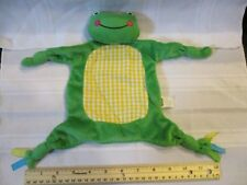Mud Pie Green Frog Yellow belly lovey security blanket infant baby toy blankie