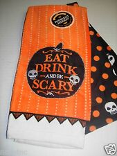 2pk Halloween Midnight Market Kitchen Towel Dish Eat Drink & Be Scary Skulls NWT