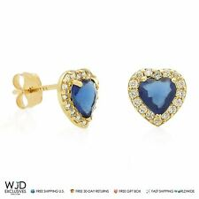 14K Yellow Gold 0.30Ct Created Diamond Blue Sapphire Halo Heart Stud Earrings