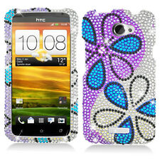 AT&T HTC ONE X Crystal Daimond BLING Hard Case Phone Cover Silver Purple Flowers