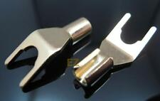 8x Gold Spade Terminal Connectors Copper Plug Quick Lock Cable Wire Hifi Speaker