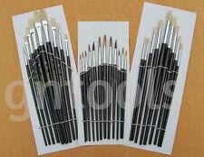 30pc artista Paint Brush Set plana y redonda, bien De Aceite Agua Color