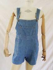MISS HIS true vintage 70s high waist denim overalls short shorts XL LARGE 32