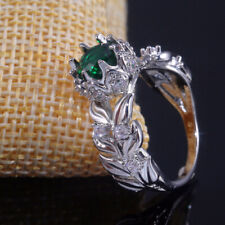Fashion Women Silver Rings Round Cut Emerald Wedding Engagement Ring Size 7