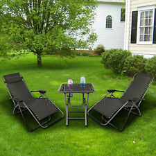 2x Chaise longue de jardin pliante transat bain Garden Sun Lounger Chair+table