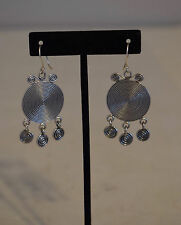 Earrings Silver Miao /Hmong Etched Round Etched Coil Dangle Hill Tribe Silver