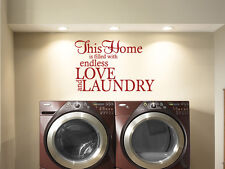 "Laundry Wall Quote ""Endless Love & Laundry""  Wall Art Sticker, Decal, Transfer"