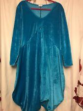 womens plus size 18-24 velvet velveteen turquoise lagenlook quirky bubble dress