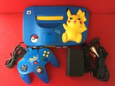 USED N64 Nintendo 64 Pokemon Pikachu Blue Yellow Console Set NTSC-J EMS F/S