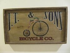 BICYCLE AD SIGN PAINTED - J.T. & SONS BICYCLE CO