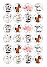 24 x BABY FARM ANIMALS Wafer Rice Paper Cupcake Toppers EDIBLE CAKE COW PIG