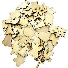 Wood Christmas Embellishment For Scrapbooking Crafts DIY Xmas Decor Gifts 50x