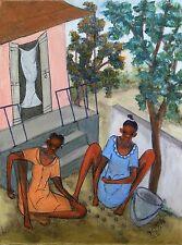 """Girls' Game"" by Reynald Joseph - 2011 - Naive Haitian Art - 12 in x 16 in"
