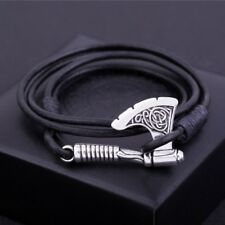 Vintage Slavic Perun Axe Viking Jewelry Punk Mens Rope Bracelet Free Shipping