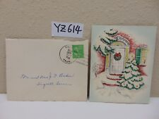 VINTAGE CHRISTMAS CARD-ENVELOPE-STAMP 1940'S- HOUSE FRONT DOOR-WREATH-TREE-SNOW