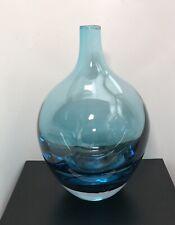 "IKEA 8"" Aqua Teal Blue Glass Handmade Heavy Bottomed Salong Vase #1050"