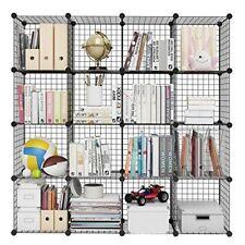 LANGRIA 16-Cube DIY Wire Grid Bookcase, Multi-Use Modular Storage Shelving