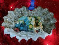 Tart Tin Diorama Christmas Ornament Handmade w Vintage & Supply Items DEER lbl ~