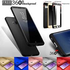Tempered Glass+360° Phone Case For Samsung Galaxy A5 A6 A7 A8 A9 J2 J3 J4 J5 J6