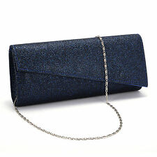 Ladies Glitter Shimmer Bling Handbag Evening Prom Clutch Bag Purse Dark Blue