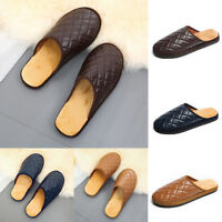 Men's Winter Warm Leather Slippers Comfy Mules Home House Casual Walking Shoes