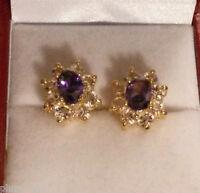 Oval purple amethyst sim diamond 13x10mm gold filled stud earring BOXD Plum UK
