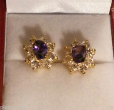 Oval purple amethyst sim diamond 13x10mm gold filled stud earring BOXD Plum UK