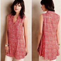 11 1 Tylho Anthropologie Percy Red Plaid Button Down Tunic Top Blouse Size L