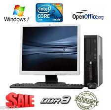 "FULL COMPUTER SET HP 8000 + 19"" Screen Intel Core 2 Duo 4GB DDR3 250 GB Win 7"