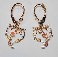 Black Hills Gold 10 kt 12 kt Rose Heart Lever Back Earrings Coleman