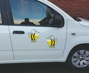 Fun Bees Vinyl Wall Car Sticker Decal x 2