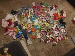 Huge Lot Of Vintage Barbie Ken And Skippy Clothes And Asserices