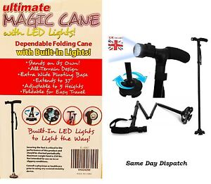 ULTIMATE MAGIC CANE Adjustable Folding Extendable Walking Stick With LED LIGHT