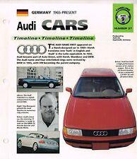 AUDI Cars Timeline History Brochure:100, TT,200,TURBO,80,90,QUATTRO,A3,A6,R8,S4