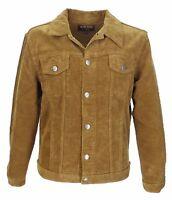 Mens 60s Retro Vintage Tan Cord Western Trucker Jacket …