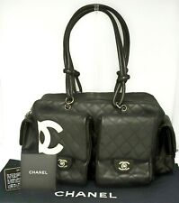 Auth CHANEL Calfskin CC Quilted Large Cambon Multipocket Reporter Black Italy