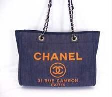 Chanel Deauville mm Bolsa de Hombro Denim Azul Naranja Cadena Bolso