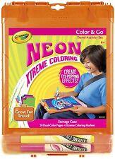 Crayola Neon Xtreme colorantes Set con almacenamiento Funda Marcadores Y Papel Nuevo!