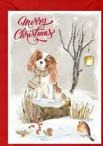 """Cavalier King Charles Spaniel Dog A6 (4""""x 6"""") Christmas Card (Blank inside)"""