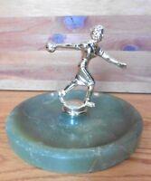 Vintage Women's Bowling league trophy Ashtray Marble stone ? jade & brass award