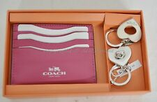 NIB Coach Gift Set Of Card Case and Valet Keyring Pink Color Leather Great Gift!