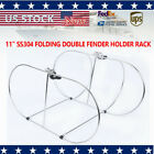 """11"""" Stainless Steel 304 Folding Double Fender Holder Rack"""