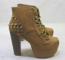 """Tan Gold Spikes Lace Up 5.5"""" Block High Heel Round Toe Ankle Boot Size 8"""