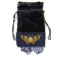 Antique Victorian Butterfly Beaded Drawstring Hand Bag Riticule Purse Steampunk
