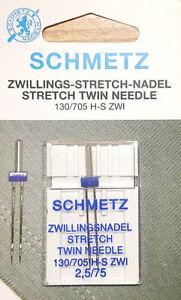 AGHI PER MACCHINA SCHMETZ DOPPI STRETCH 2,5/75 confezione 1PZ - ago gemello