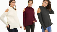 UMGEE Womens Cold Shoulder Rib Knit Long Sleeve Chic Sweater Top Blouse S M L