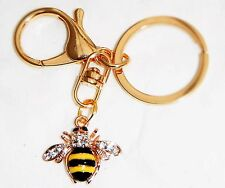 Colourful Enamel Golden Bee Keyring Chrome Metal Keychain Gift Boxed