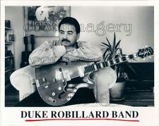 1989 Blues Musician Duke Robillard With Hollow Body Epiphone Guitar Press Photo