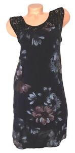ITALY Mode Damen Kleid Blumen Makramee schwarz GR. L 42 44 46 NEU