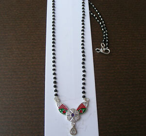 Handmade sterling silver Mangalsutra women chain necklace gift for wife